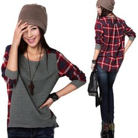 IN Stock 2 Color S-XXL Hot Sale New 2015 Long Sleeve plaid Bottoming Shirt women Female Sweatshirt hoodie Loose Patchwork blouse