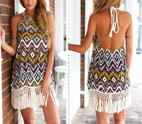 Women Summer Dress Bohemian Style 2015 Casual Dresses Halter Vestidos Femininos Vintage Floral Vestido Print Beach Dress
