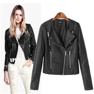 Fashion-European-style-solid-color-multi-zipper-leather-jacket-lapel-oblique-zipper-jacket-blouses-PU-leather