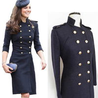 lacegirl's New 2014  women winter warm Princess Kate Celebrity double-breasted wool coat uniform Epaulet long coat s m l xl