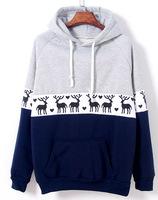 lacegirl's New 2014 Autumn Harajuku women fashion Fleece warmd deer patchwork pocket hoody sweatshirt Top female
