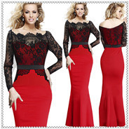 00001_summer-women-long-sleeved-lace-black-red-pacthwork-slim-fishtail-long-sexy-party-bandage-hip-bodycon