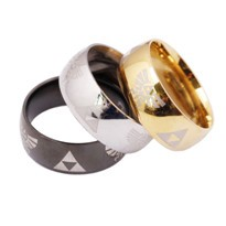 New-Retail-1pc-Anime-The-Legend-of-Zelda-the-Triforce-Zelda-Logo-Ring-Triforce-Black-Metal