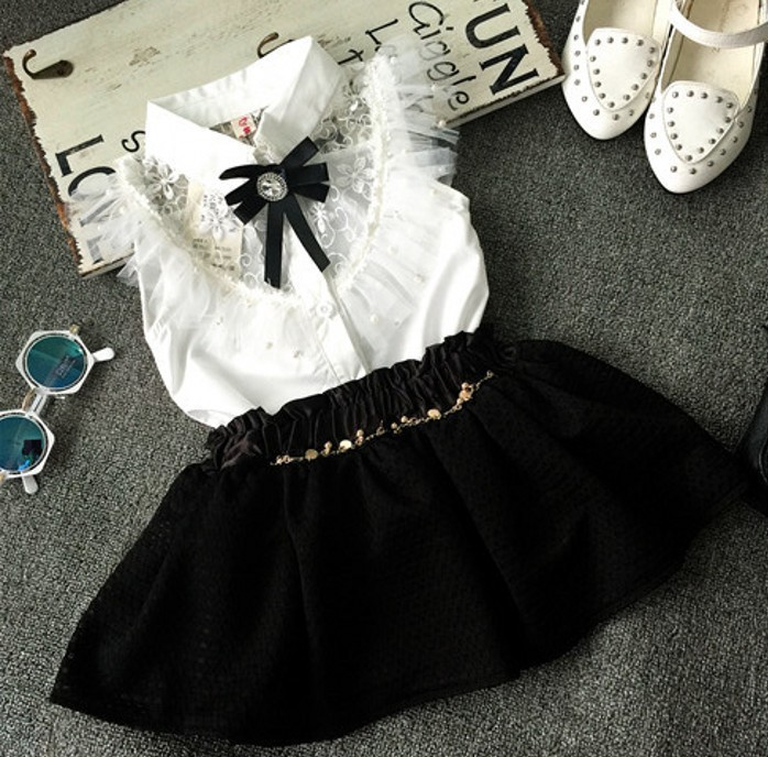EMS-DHL-Free-Shipping-Toddler-Girls-2pc-Suit-Lace-Blouse-Black-Lace-Skirt-Summer-2pc-outfit