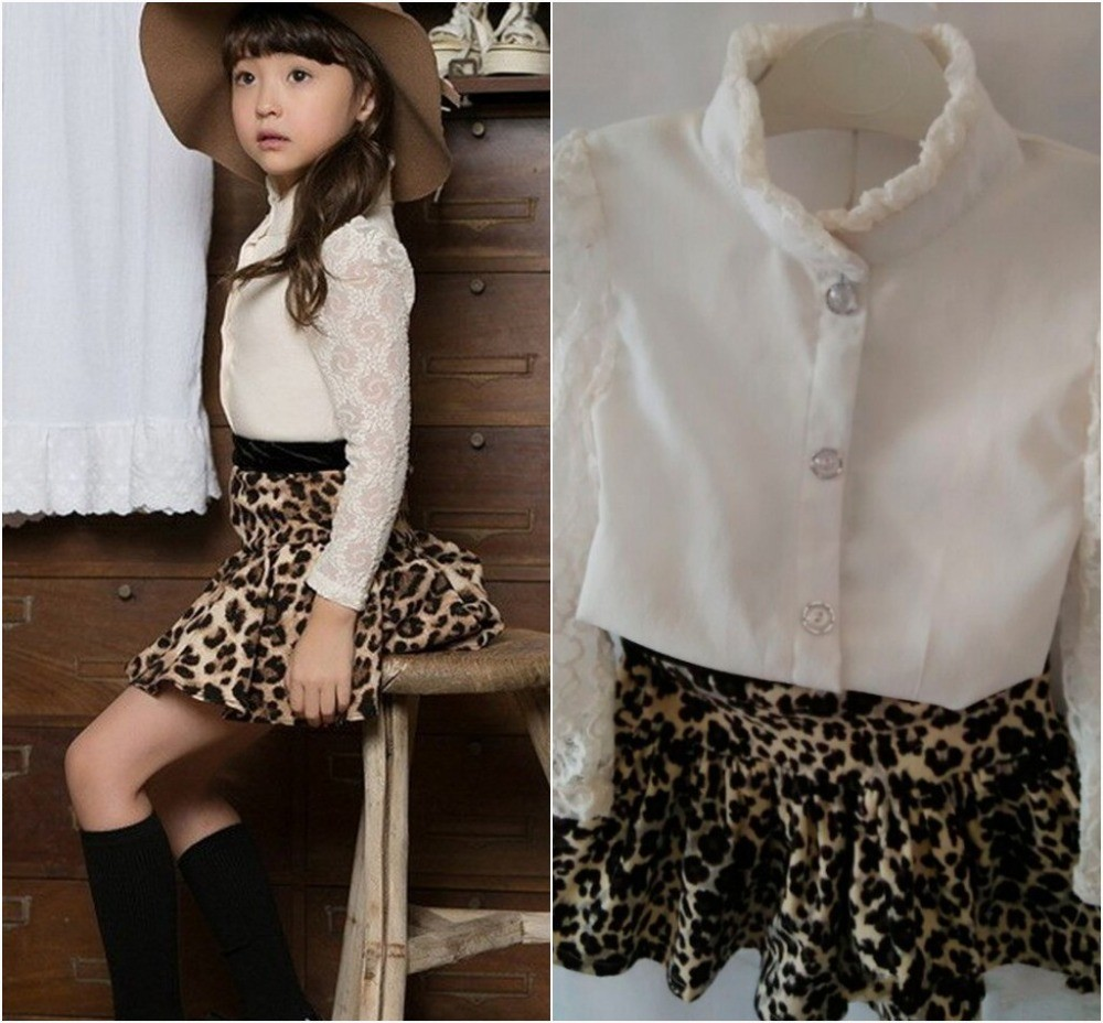EMS-DHL-free-shipping-2015-Autumn-girl-2PC-suit-Korea-Style-Lace-Shirt-Leopard-Skirt-Animal
