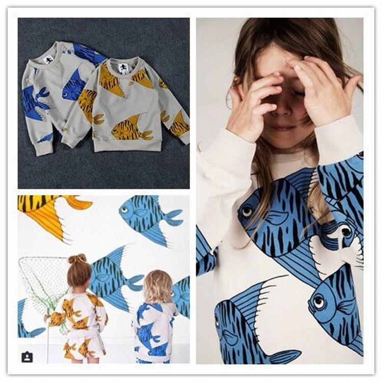 EMS-DHL-Free-shipping-Children-Girls-2015-mini-rodini-T-Shirt-Fish-Print-Kids-Clothes-Baby