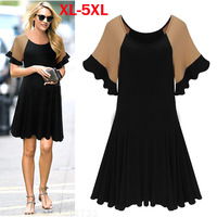 New 2015 Women Summer Dress Patchwork Modal Slim Dress Female Casual Ruffle Short Sleeves Vestidos Beach Mini Dresses Plus 5XL