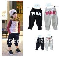 Retail In Stock! 2014 Summer Kid Pants Children PINK trousers girls harem pants boy trousers LittleSpring GLZ-K0047