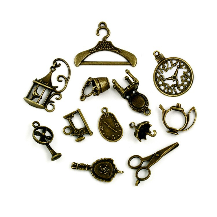 Free-Shipping-106pcs-lot-New-Arrival-Vintage-Charms-12-style-Mix-Antique-Bronze-Alloy-charm-Pendant