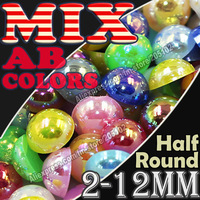 Mix AB Colors Half Round Flatback Pearls 2mm 3mm 4mm 5mm 6mm 8mm 10 12mm ,loose imitation ABS pearl beads for DIY Nail Art Phone