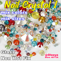 Nail Art Rhinestone Mix Size Color Approx 800pcs/lot Flatback Non Hot Fix Rhinestones SS4 SS6 SS8 SS10 SS12 SS16 SS20 SS30 Y0642