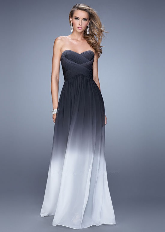 La Femme 21515 Black White Strapless Ombre Prom Dress