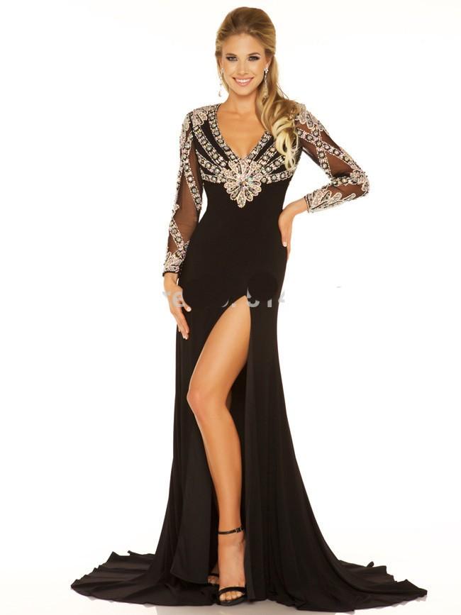 Vestidos-De-Fiesta-Backless-Satin-V-Neck-Crystal-Full-Sleeve-Mermaid-Floor-Length-Mother-Dresses-Evening