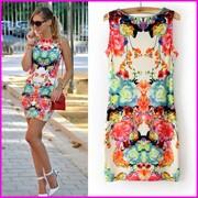 2014-Summer-New-Slim-Casual-Women-Dresses-Sling-models-Print-Flowers-Sleeveless-Dress-Fashion-Brand-S