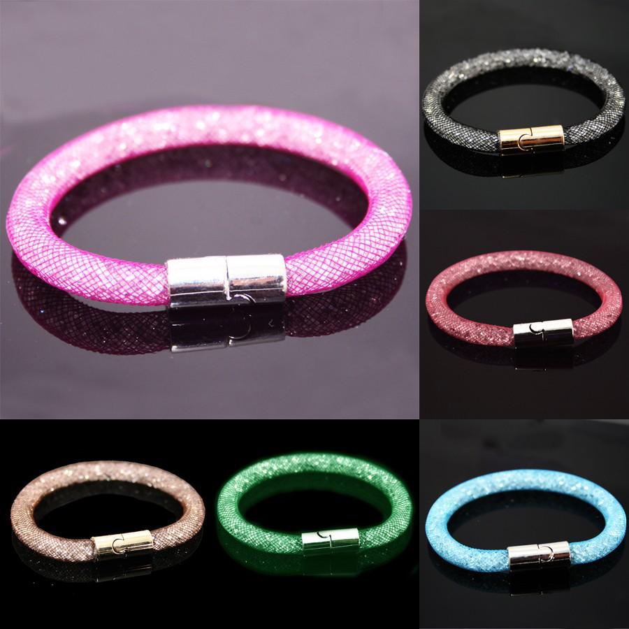 Hot-sale-Mesh-Stardust-Bracelets-With-Crystal-stones-Filled-Magnetic-Clasp-Charm-Bracelets-Bangel-for-Women