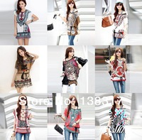 17 Styles Women Boho Batwing Short Sleeve Off Shoulder Floral Soft Blouse Loose Plus Size Summer Top T shirt 2015