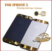 Electroplate gold Logo and Edge for iPhone 5 replacement Back Battery Housing Frame Cover Case for iPhone5 black white 26