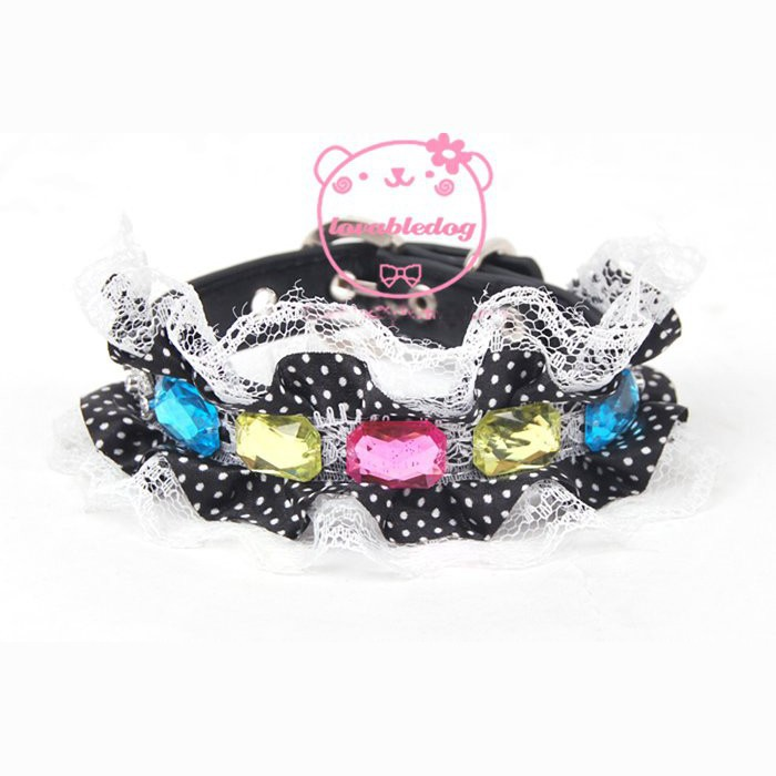 Colourful-gemstone-dog-collar-with-bling-buckle-spotty-lace-pet-collars-pu-belt-black-hot-pink
