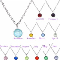 Mixed Styles Birthstone 15*18mm Dangle Pendant Fashion Jewelry Necklaces Fit skey chains mobile phone straps as Birthday Gift