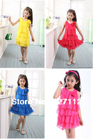 2014 New 4-14yrs Girls' Dress kid's cartoon summer party dress girl's tutu princess dress toddler lovable dresses 4 color 9150