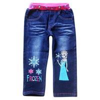 2014 Frozen pants Kids Cute cartoon girl demin Pants autumn Baby girls casual long trousers children jeans