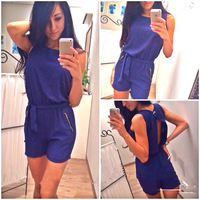Lacegirl's  new 2014 fashion macacao feminino  zipper backless hollow out blue shorts jumpsuit s m l xl overalls for women