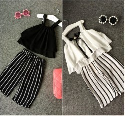 EMS-DHL-Free-Shipping-Toddler-Girls-2pc-Suit-Summer-Suit-Kid-Clothes-Chiffon-Top-Stripe-Pants