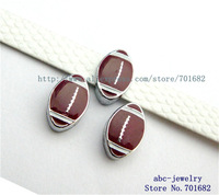 American football 10pcs Internal Dia.8mm slide Charms can through 8mm Wristband pet collar