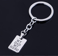 Happy Father's Day Fashion Rectangle My Dad My Hero Pendant Keyring Keychain Men Accessories Women Jewelry Gifts Xmas Party