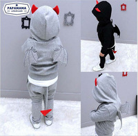 In stock ! High quality ! Children's clothing set Autumn boys' long sleeve hoodies with wing + pants Little Spring GLZ-T0335
