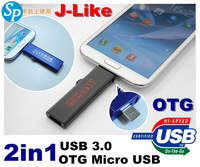 brand J-LIKE   usb 3.0 flash drive , usb  otg micro usb otg flash drive 16GB 32GB 64GB 128GB for android 4.0 smart phone tablet