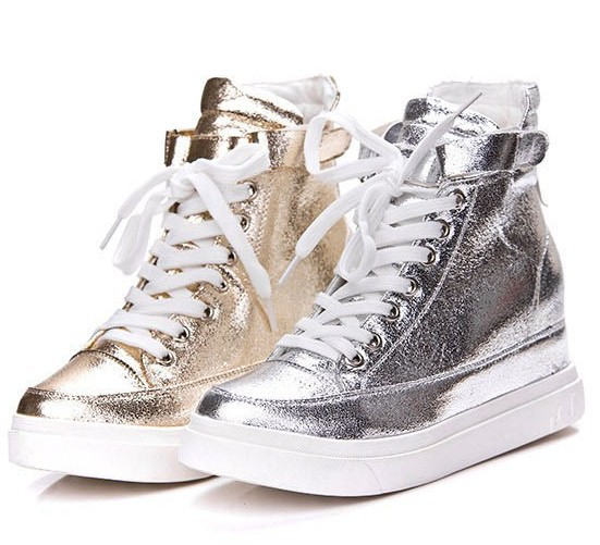 Buckle-Design-Shining-Gold-Silver-Color-PU-Leather-Women-Sneakers-Lace-Up-Height-Increasing-Shoes
