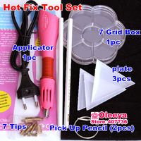 DIY TOOL SET 1pcs Hotfix Applicator 2pcs Pick Up Pencil 3 Plate 1 Box  For Fashion DIY Jewelry Strass Rhinestones Nail Art Trim