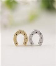 Gold Silver Horseshoe stud Earrings