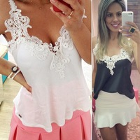 White Lace Blouses Femininas 2015 Women Blusas Lady Patchwork Shirts Sexy Chiffon Spagetti Strap Blusas Vest Tops Plus