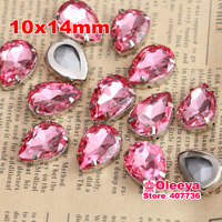 120pcs/bag 10x14mm Rose Red  Color Waterdrop Shape sew on Stone with Claw setting Rhinestone With Claw,Rose Crystal Droplet