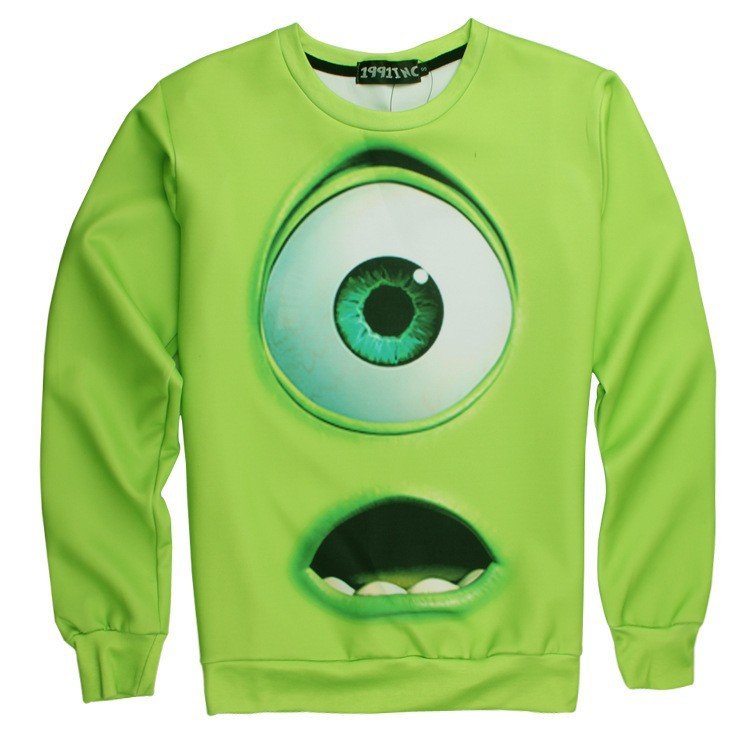 New-2015-Fashion-Lovely-Mike-Wazowski-Design-Women-Sweater-Men-Hoodie-Green-Color-Adult-Casual-Shirts