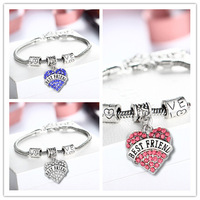 Engraved Best friend Family Gifts Heart Rhinestone Crystal Charm Pendant Silver Bangle Bracelet Party Women Lady Jewelry