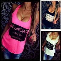 Hot Sales Casual t shirt Women Vest tops femme Tank Top Solid color Sleeveless Euramerican style Letter Print Sexy backless tops
