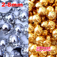 Mix Silver & Gold Half Round Pearls , 2mm 3mm 4mm 5mm 6mm 8mm loose imitation ABS Flatback pearl beads for DIY Nail Art Phone