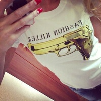 lacegirl's shop New women 2014 fashion killer gold gun print top tee short sleeve black/white  t-shirt female white s m l