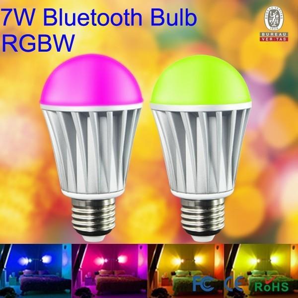 Bluetooth-7W-led-Lamp-Aluminum-RGBW-RGB-Warm-white-E27-LED-Bulb-For-Iphone-4S-or