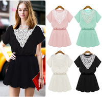 New Summer Dresses Casual Women Lace Vestidos Embroidery Slim Stretch Mesh Collar feminino Daily Dress Cozy Short Sleeve Dress