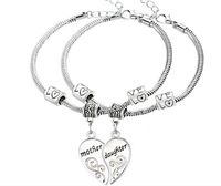 2pcs/set Antique Silver Mother Daughter Love Heart Bangle Bracelet Charm Jewelry Gift