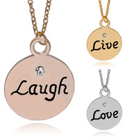 Live Laugh Love 3 Colors Silver, Rose Gold, Gold,3 Parts Inspirational Pendant Necklace Jewelry Women Mother Gift ZJ-0903687