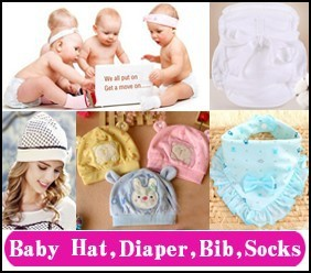 6 baby hat, diaper, bib, socks