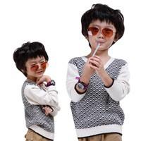 Wholesale-Price-V-neck-Rhombus-Design-Boys-Cashmere-Sweater-Size-90-130-cm-Nobel-Children-Casual