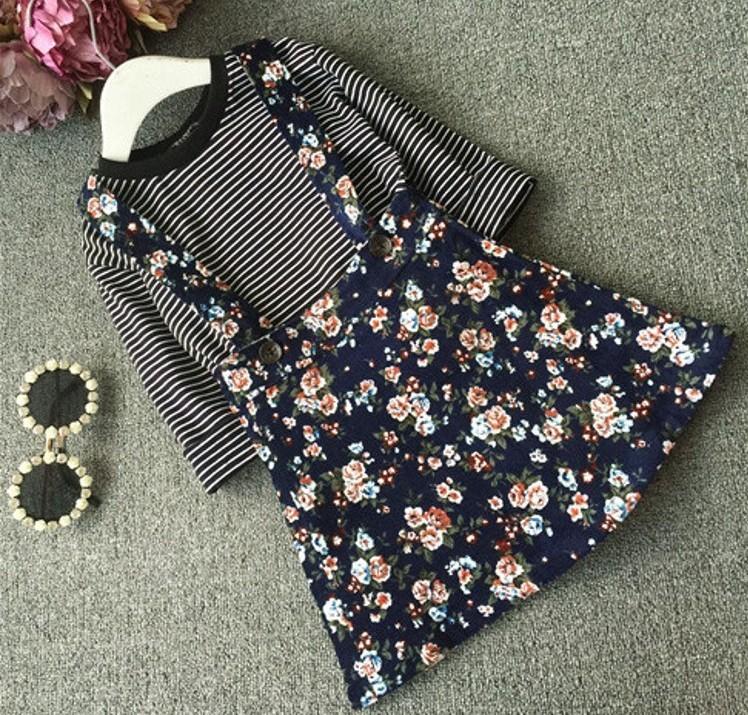 EMS-DHL-Free-Toddler-Girls-2PC-Set-Stripe-Top-Flower-Suspender-Spring-Autumn-outfit-Children-s