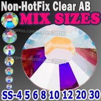 Mix Sizes 1200pcs/Lot ,Non HotFix Clear AB crystal SS4 SS6 SS8 SS10 SS12 SS16 SS20 SS30 nail glitters FlatBack Rhinestones stone