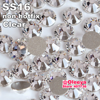 Nail art rhinestone SS16(3.8-4.0mm) crystal clear color flatback  non hot fix rhinestone decoration for nail Free Shipping !